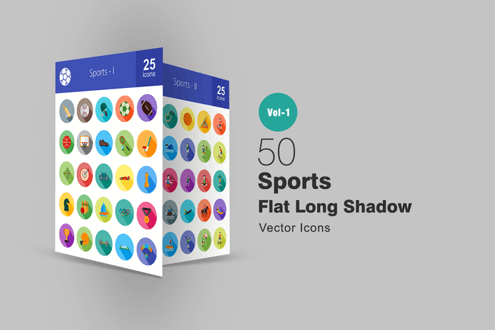 Thumbnail for 50 Sport Flat Long Shadow Icons