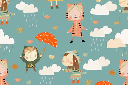 Vector Seamless Pattern with Kids wearing Colorful