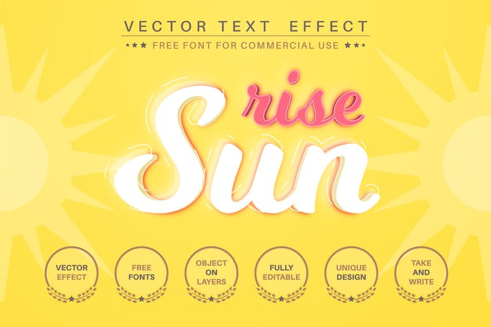 Sun rise - editable text effect,  font style