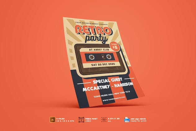Retro Music Flyer Template Vol. 01