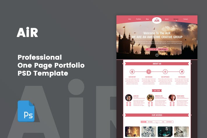 Thumbnail for AiR - Creative One Page Portfolio PSD Template