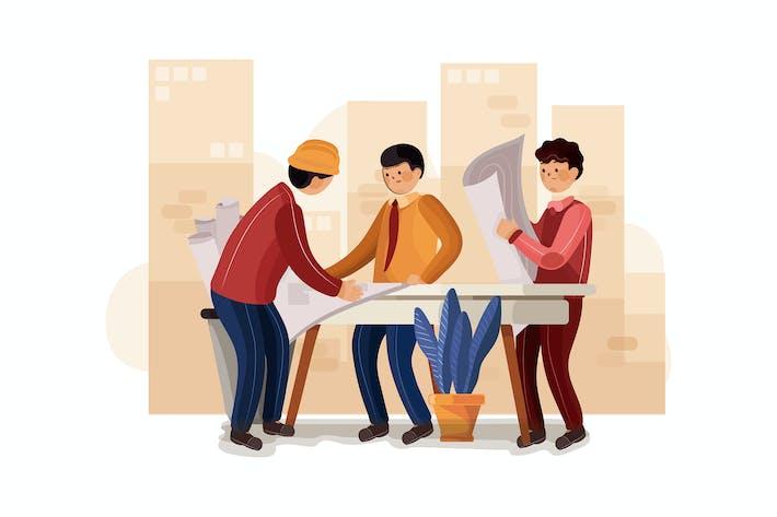 Thumbnail for Bauleiter, der an Bauvorhaben arbeitet