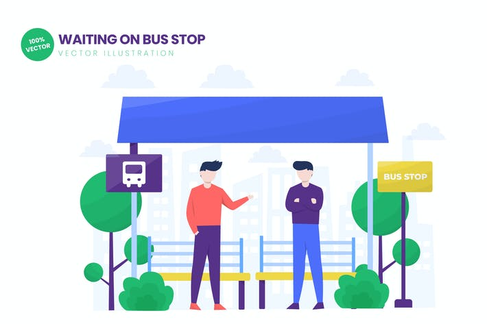Thumbnail for Waiting On Bus Stop Flat Vector Illustration