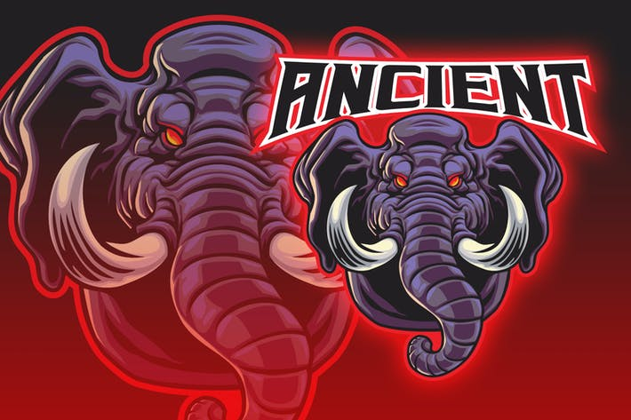 Angry Male Elephant Esport Logo