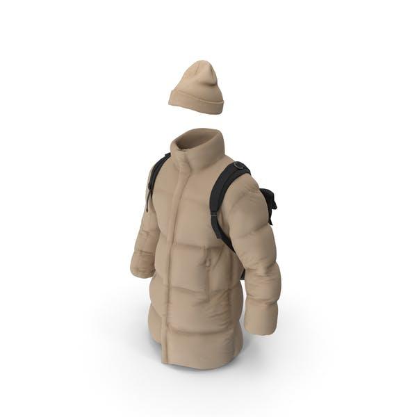 Mens Down Coat Hat Backpack  Beige Black