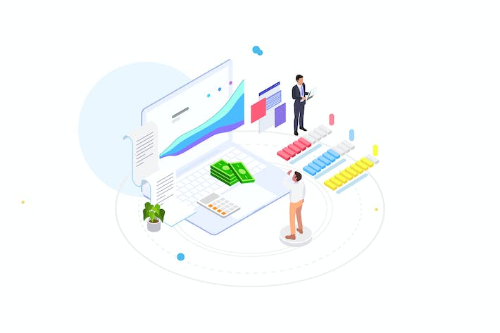 Thumbnail for Financial Planning Isometric Illustration - FV