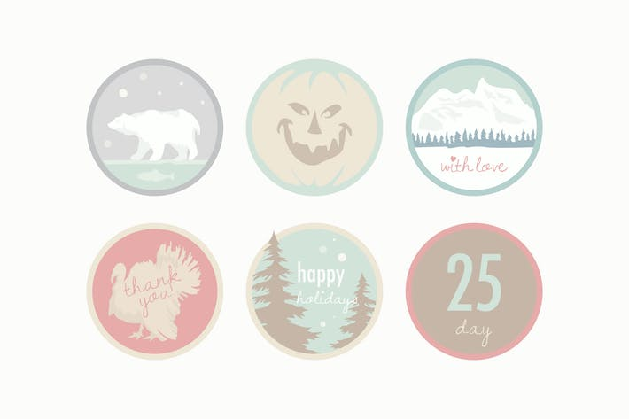 Thumbnail for Pale Holiday Badges