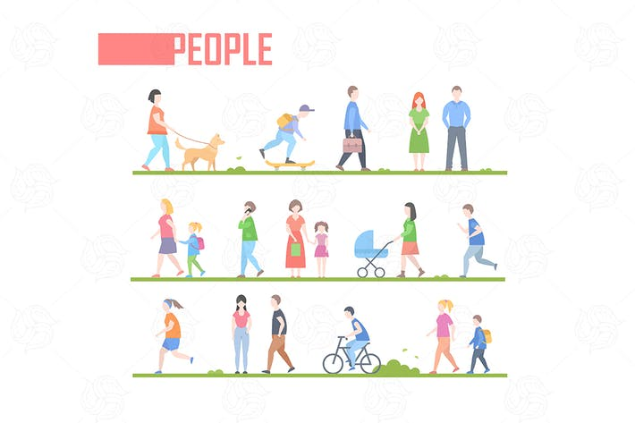 Thumbnail for Flat design style cartoon people characters set