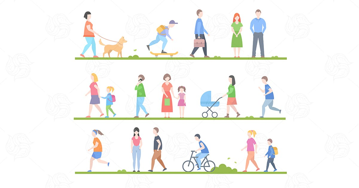 Flat design style cartoon people characters set by BoykoPictures