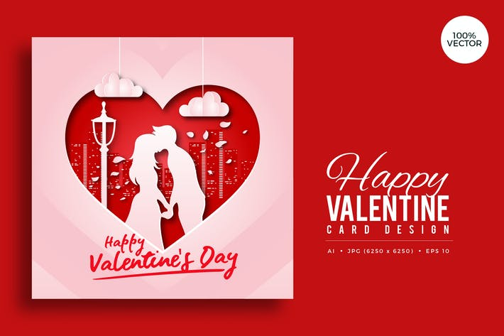 Thumbnail for Paper Art Valentine Square Vector Card Vol.2