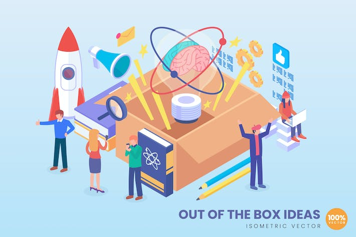 Thumbnail for Isometric Out Of The Box Vector Concept