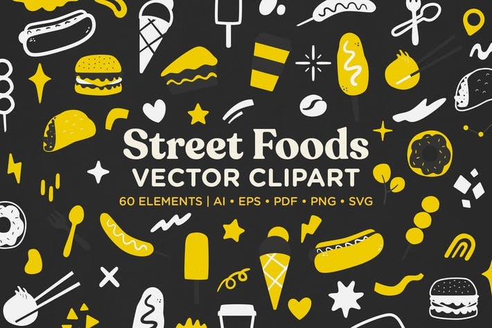 Thumbnail for Street Food Vector Clipart Pack