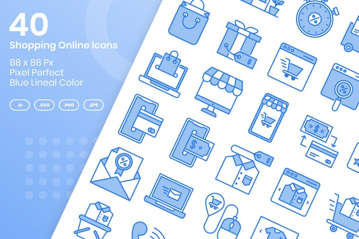 Thumbnail for 40 Shopping Online Icons Set - Blue Lineal Color