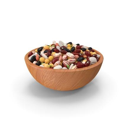 Judías de leguminosas mezcladas en un plato