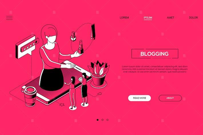 Thumbnail for Bloggen - Linie Design Stil isometrische WebBanner