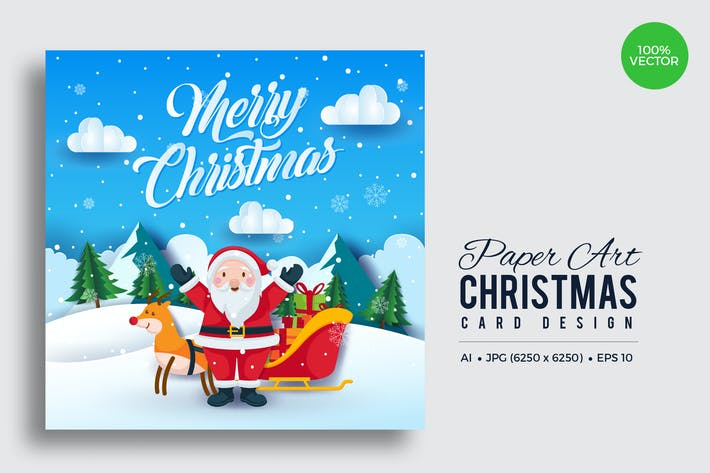 Thumbnail for Merry Christmas Square Vector Card Vol.6
