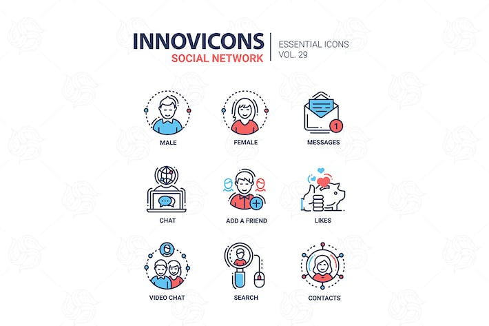 Thumbnail for Social Network - modern vector line icons set