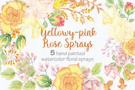 Yellowy-pink Rose Sprays: Set of 5