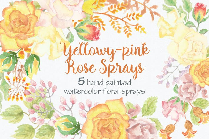 Thumbnail for Yellowy-pink Rose Sprays: Set of 5