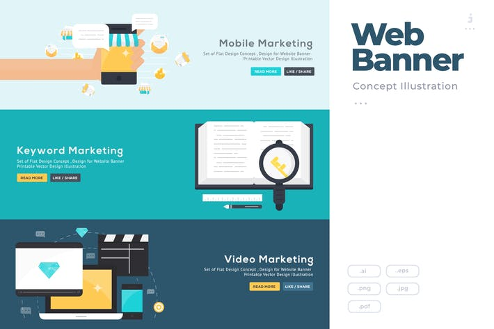 Thumbnail for Flat Design Banner Concept for Online Marketing