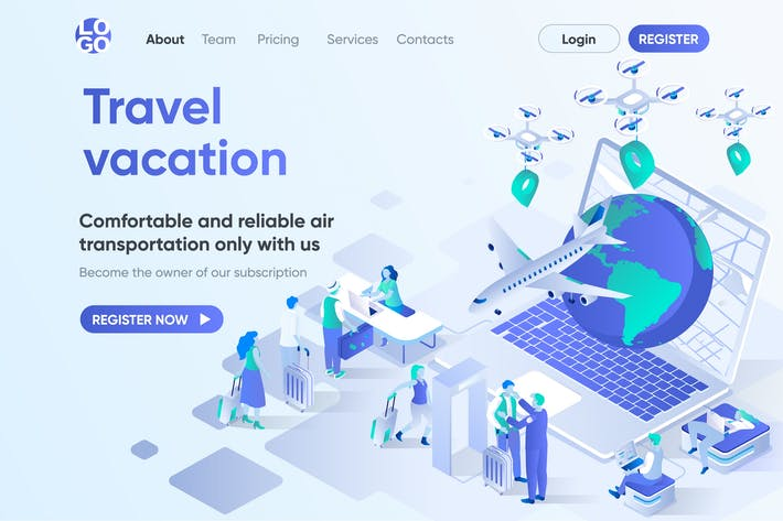 Thumbnail for Travel Vacation Isometric Concept Landing Page