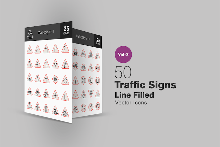 Thumbnail for 50 Traffic Signs Line Filled Icons