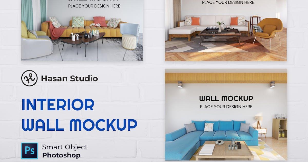 Interior Living Room Wall Mockup - Nuzie by GranzCreative
