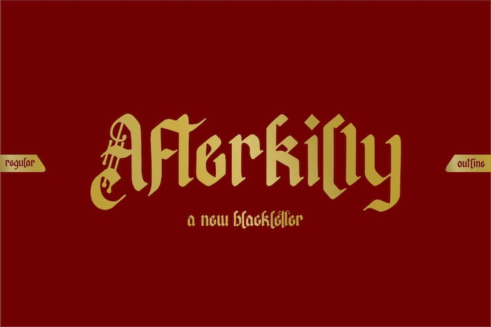 Thumbnail for Afterkilly | Blackletter Font