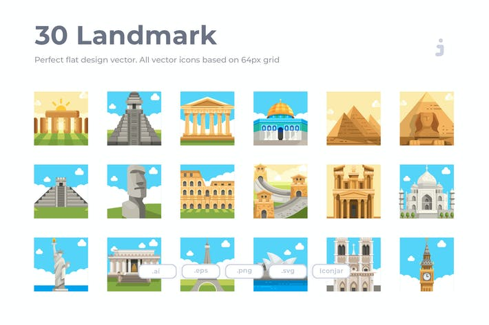 Thumbnail for 30 Landmark Icons - Flat