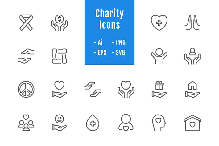 Thumbnail for 20 Charity Icons (Line)