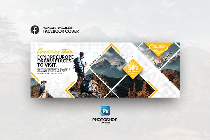 Thumbnail for Air Travel - Travel Agency Facebook Cover Template