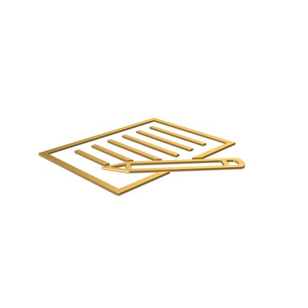 Gold Symbol Document With Pen