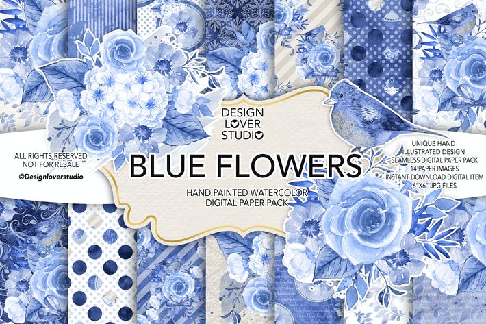 Thumbnail for Watercolor BLUE FLOWERS digital paper pack