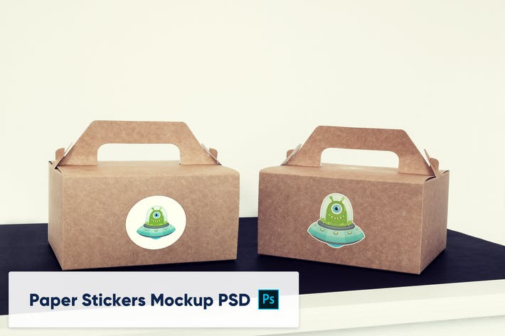 Thumbnail for Deux Boîtes en Papier avec Autocollants - Mockup PSD