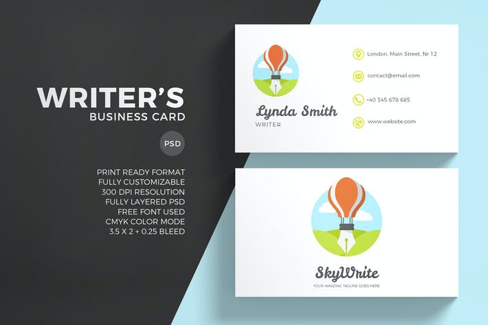 Cover Image For Creative Writing Business Card