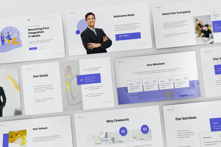 Thumbnail for V-Media - Company Profile Powerpoint Template