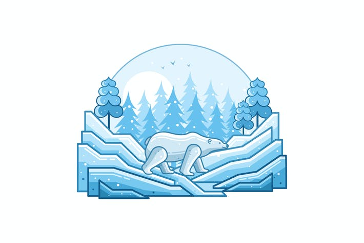 Thumbnail for White Polar Bear Winter Line Illustration