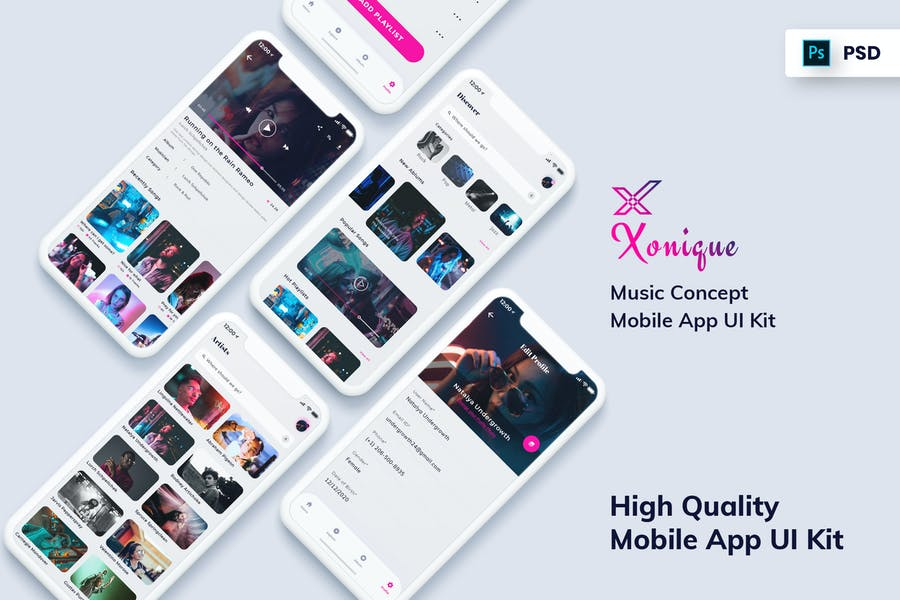 Xonique-Music Mobile App UI Kit Light Version