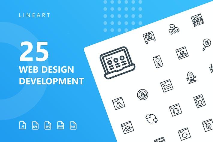 Thumbnail for Icons der Webdesign-Entwicklungslinie