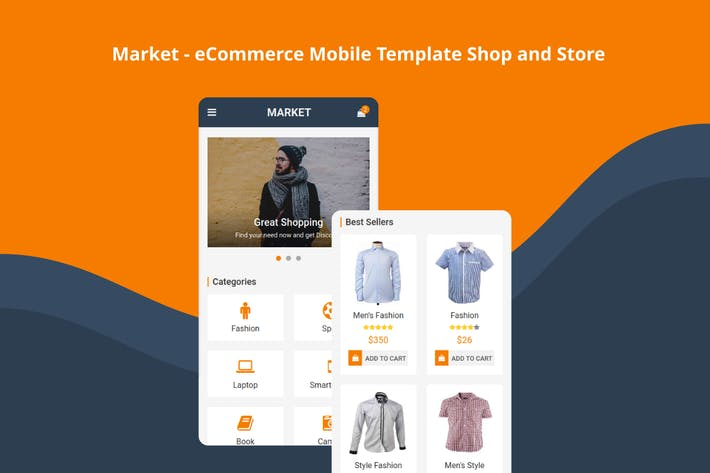Cover Image For Market - eCommerce Mobile Template Shop and Store