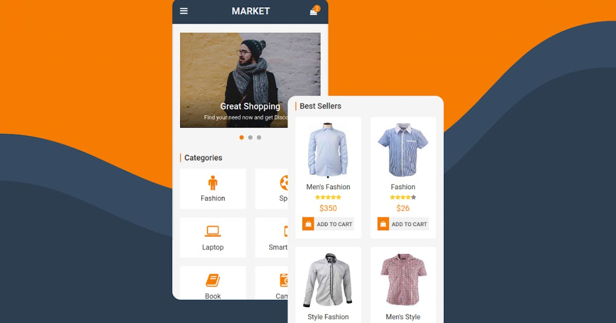 Download Market - eCommerce Mobile Template Shop and Store by rabonadev