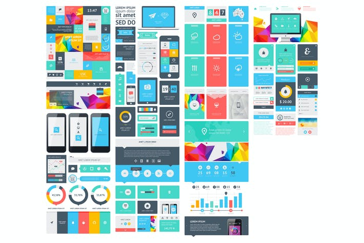 Cover Image For infographics element with Vector GUI Template