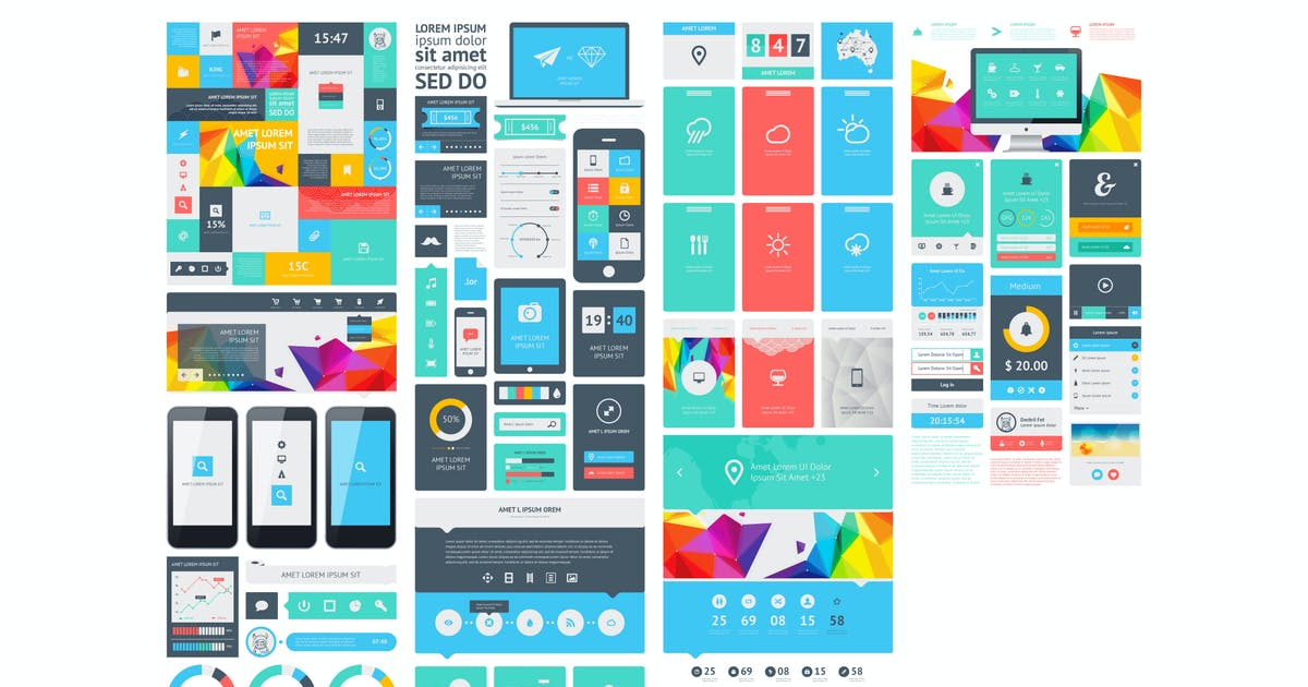 Download infographics element with Vector GUI Template by fet