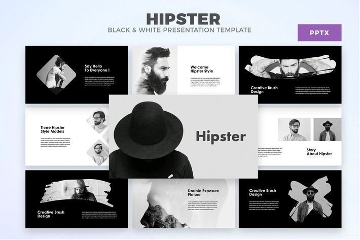 Thumbnail for Hipster - Black And White Powerpoint Template
