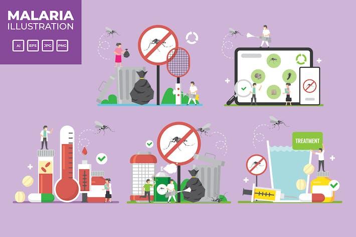 Malaria, Dengue fever vector illustration