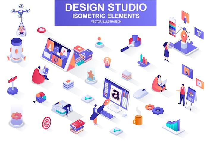 Isometrische Designelemente des Konstruktionsstudios