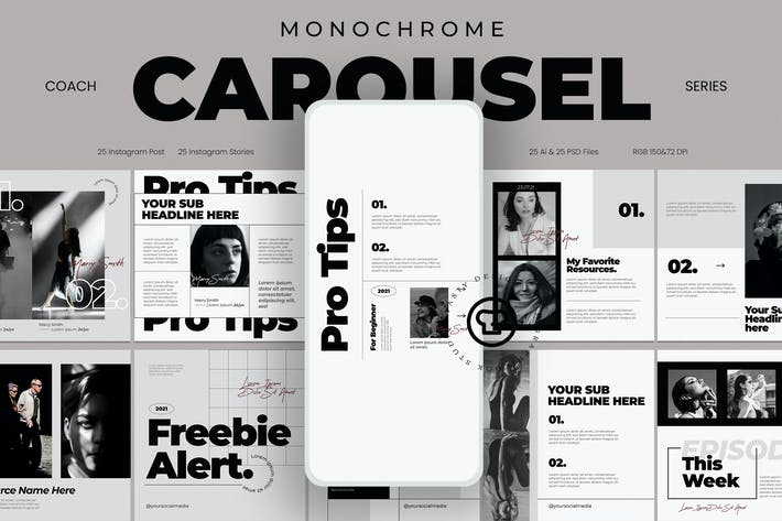 Thumbnail for Monochrome Socia Media Post Carousel