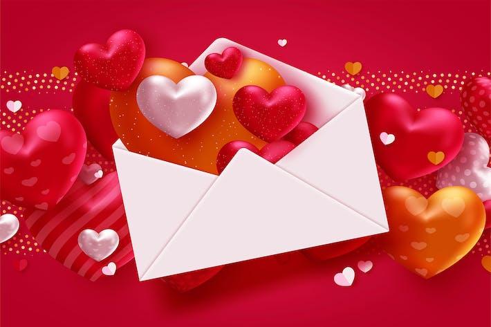 Valentine-Herzen auf rotem Hintergrund