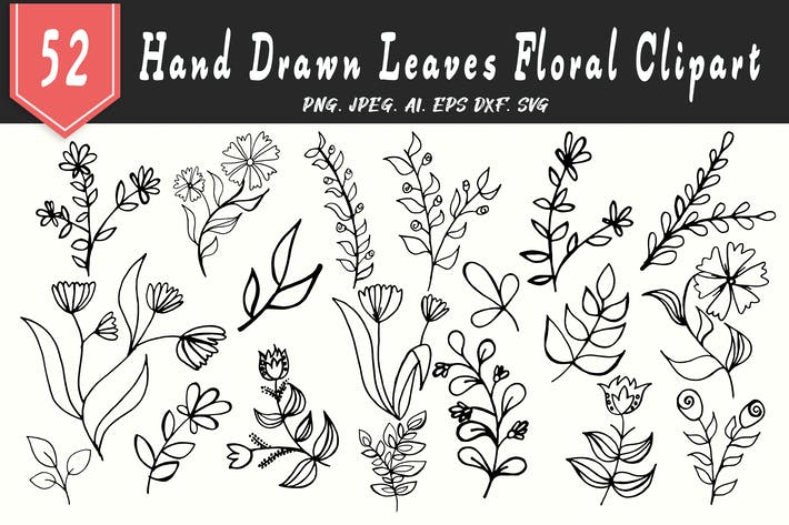 Thumbnail for 50+ Leaves Floral Handmade Cliparts
