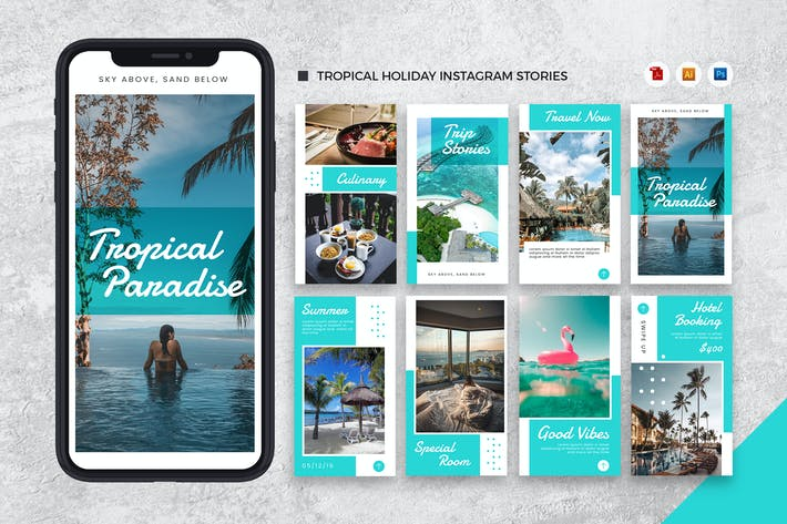 Thumbnail for Tropical Holiday Instagram Stories AI and PSD